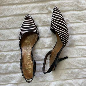 Sam Edelman Black/White Striped Low Heels Size 7 M